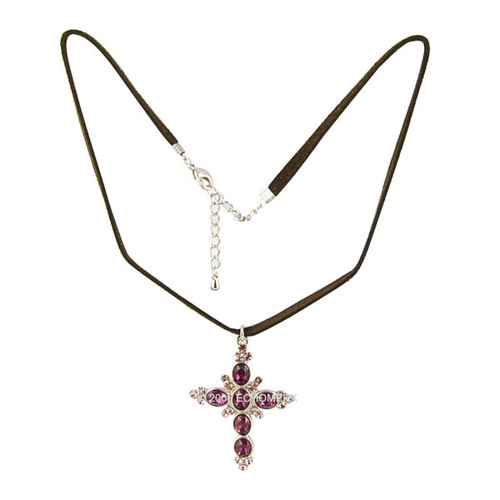 Purple Cubic Zirconia Cross Necklace