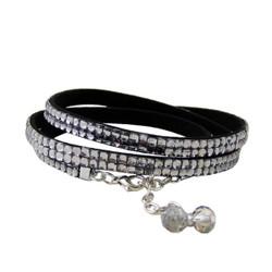 Glittering Beads Wrap Around Bracelet Silver
