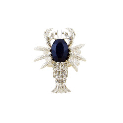 Lobster Stretch Ring Bejeweled Blue