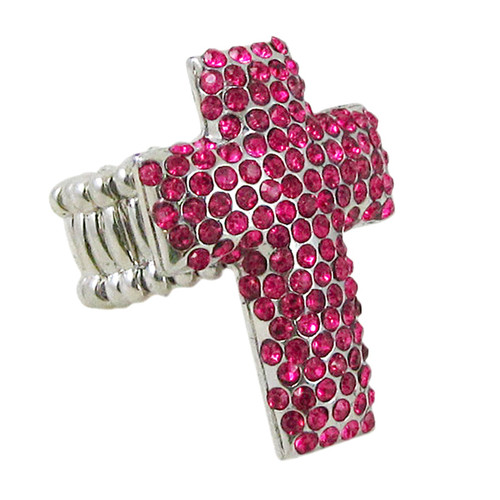 Pink Cross Stretch Ring Jeweled