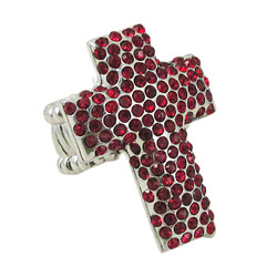 Cross Stretch Ring Jeweled Garnet Red