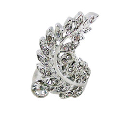 Spiral Feather Ring Bejeweled Silver Tone