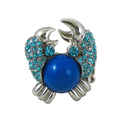 Blue Crab Ring Stretch Silver Tone
