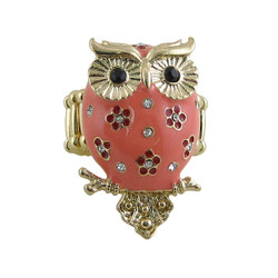 Owl Ring Stretch Band Coral Pink Jeweled