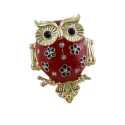 Owl Ring Stretch Band Red Jeweled