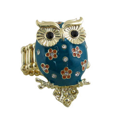 Owl Ring Stretch Band Teal Blue Jeweled