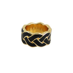 Braided Print Ring Black