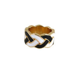 Braided Print Ring Black and White