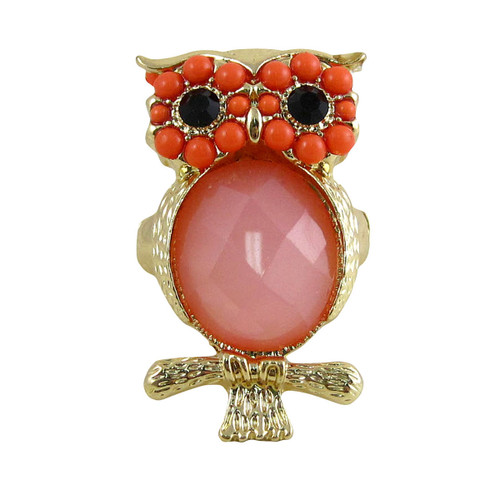 Owl Stretch Ring Gold Coral