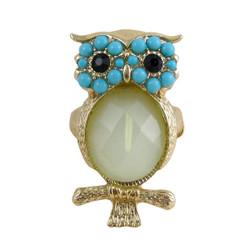 Owl Stretch Ring Gold Light Blue