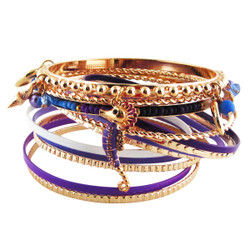 Ocean View Bracelet Bangle Set of Thirteen Purple