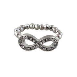 Infinity Stretch Ring Jeweled Silver