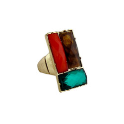 Downtown Couture Design Ring Orange, Green, and Tortoise