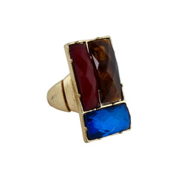 Downtown Couture Design Ring Blue, Red, and Tortoise