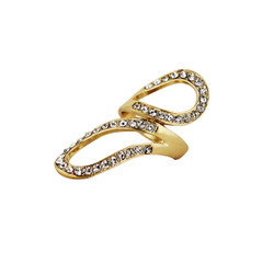 Swirling Ring with Crystals Gold