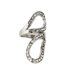 Swirling Ring with Crystals Silver