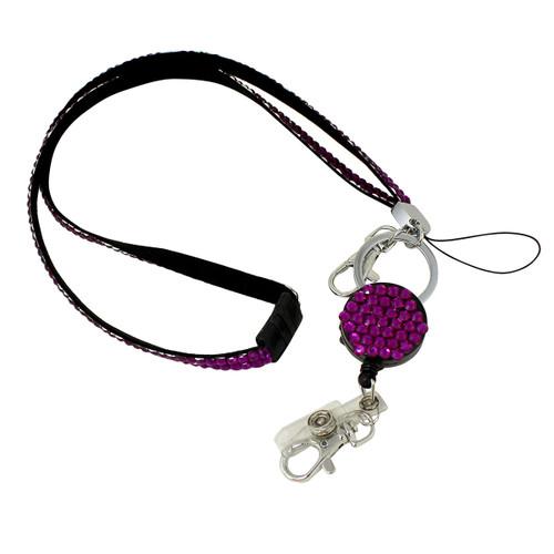 Glittering Beads Lanyard & Extendable Badge Reel Fuchsia