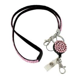 Glittering Beads Lanyard & Extendable Badge Reel Light Pink