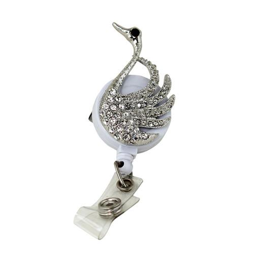 Crystal Swan Badge Reel White