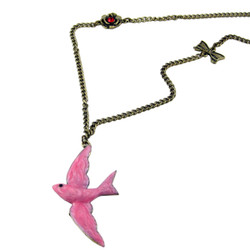 Pink Bird Long Chain Necklace