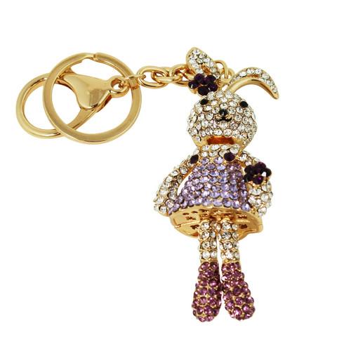 Ballerina Bunny Key Chain and Purse Charm Purple