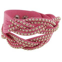 Stud Wrap Around Bracelet Pink
