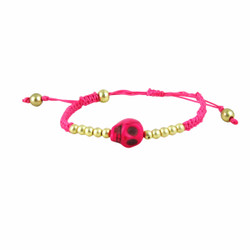 Rockabilly Skull Bracelet Hot Pink