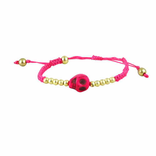 Rockabilly Skull Bracelet Hot Pink