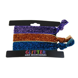 Glitter Hair Ties and Bracelets Purple Orange and Teal