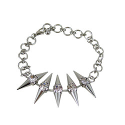 Silver Toned Double Spike Bracelet