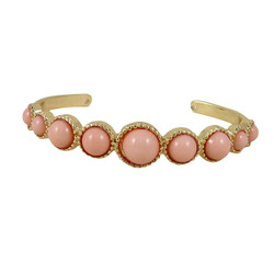 Gold Cuff with Beads Pink
