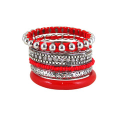 Bracelet Bangle Set of Six Red