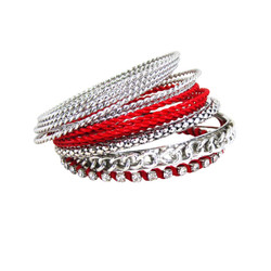 Bracelet Bangle Set of Twelve Red