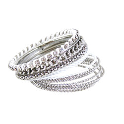 Bracelet Bangle Set of Twelve White