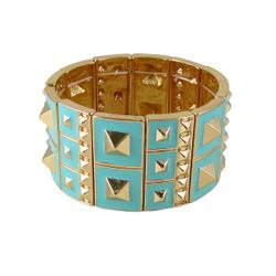 Studded Stretch Bracelet Gold Toned Mint