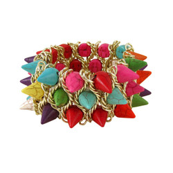Spiked Stretch Cuff Bracelet Rainbow