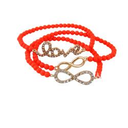 Triple Beaded Stretch Bracelet Love Infinity Coral
