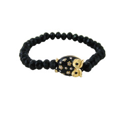 Crystal Cut Beaded Stretch Owl Bracelet Black