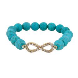 Infinity Beaded Stretch Bracelet Teal