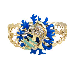 Dolphin Coral Reef Bangle Stretch Bracelet Bejeweled Blue