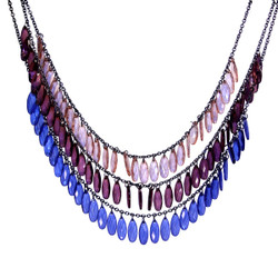 Layered Multicolor Tear Drop Necklace