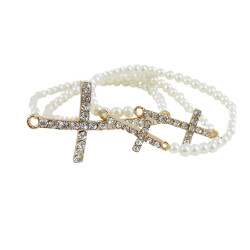 Triple Cross Beaded Stretch Bracelet White