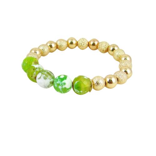 Semi Precious Beads Stretch Bracelet Gold Lime Green