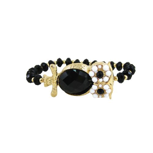 Beaded Stretch Owl Bracelet Gold Black