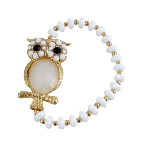 Beaded Stretch Owl Bracelet Gold White