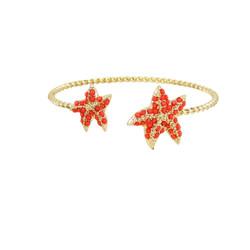 Starfish Cuff Bracelet Gold Red