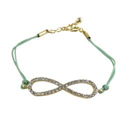 Infinity Charm Bracelet Green Bejeweled
