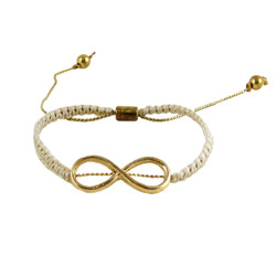 Infinity Charm Crochet Bracelet Ivory