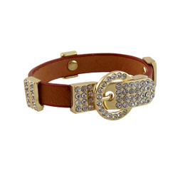 Dazzling Belt Buckle Bracelet Brown