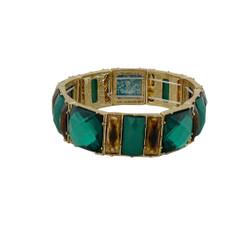 Chunky Gems & Tortoise Bracelet Green